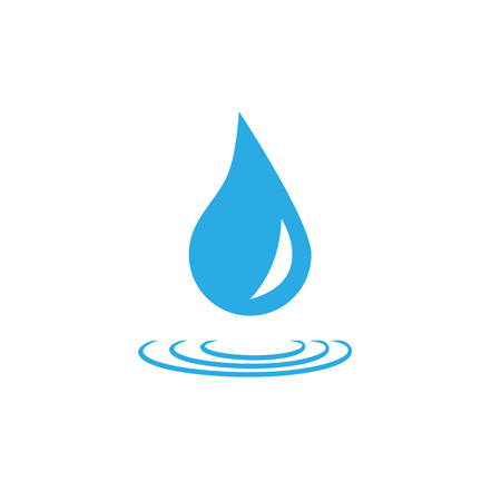 Water drop icon. Vector illustration, flat design. Blue on white
