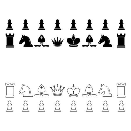 Vector illustration, flat design Chess pieces