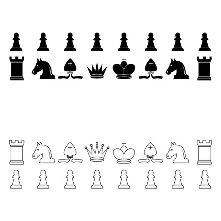 Vector illustration, flat design Chess pieces