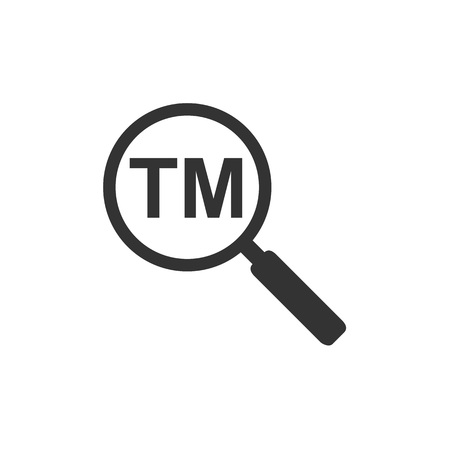 Trademark symbol icon with magnifying. Vector illustration, flat Фото со стока - 127558232