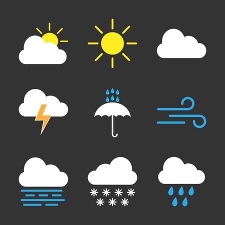 Weather icon set. Vector illustration flat Vector Illustration