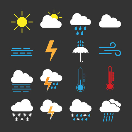 Weather icon set. Vector illustration flat