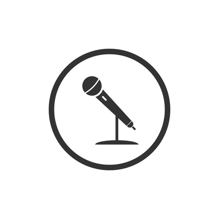 Vector illustration, flat design. Microphone mic icon