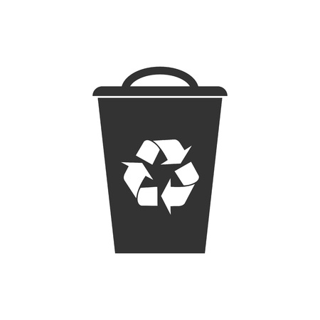 Recycle bin icon. Vector illustration, flat design.