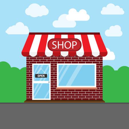 Commerce, shop, store icon. Vector illustration. Building Ilustração