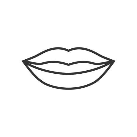 Human lips icon. Vector illustration, flat design.