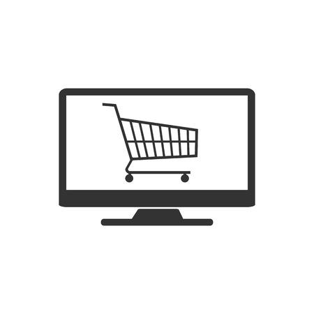 Vector illustration, flat design. Online shopping icon Illustration
