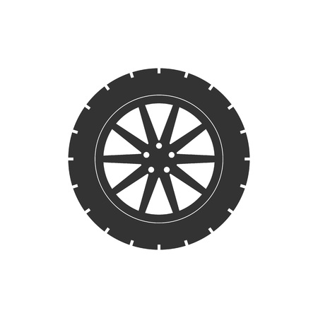 Ilustración de vector, diseño plano. Icono de neumático de transporte