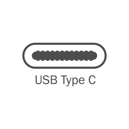 Usb port icon. Usb type C. Vector illustration, flat design.