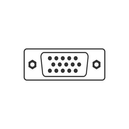 Vector illustration, flat design. VGA port icon