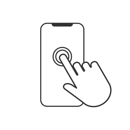 Icono de pantalla táctil de smartphone. Vector de diseño plano