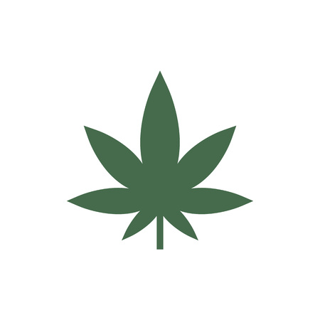 Vector illustration, flat design. Cannabis marijuana leaf icon Vector Illustration