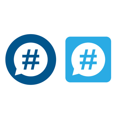 Hashtag icon set in speech bubble. Vector illustration, flat design. Stok Fotoğraf - 119013240