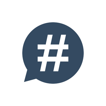 Hashtag icon in speech bubble. Vector illustration, flat design. Imagens - 119013241
