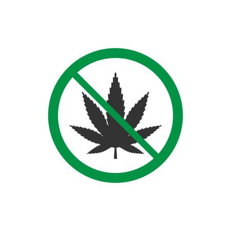 Cannabis, marijuana leaf icon, no drug sign. Vector illustration