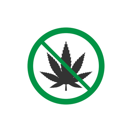 Cannabis, marijuana leaf icon, no drug sign. Vector illustration Illustration