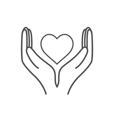 Heart in hand, charity icon. Vector flat