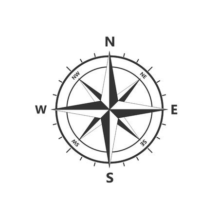 icona del vettore Rosa dei venti, icona di navigazione. Illustrazione vettoriale, design piatto