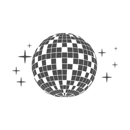 Disco ball icon white background. Vector illustration, flat design.