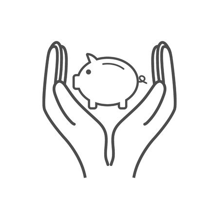 Money, pig, saving hand icon Vector illustration