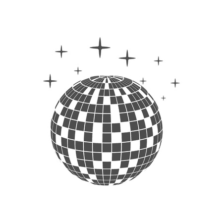 Disco ball icon white background. Vector illustration, flat design.