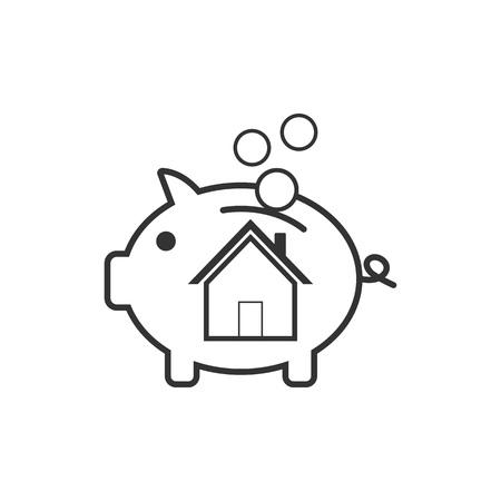 flat design. House savings pig icon