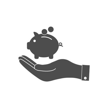 Money, pig, saving hand icon Vector illustration Reklamní fotografie - 124773940