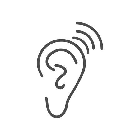 Ear hearing icon. Vector illustration flat