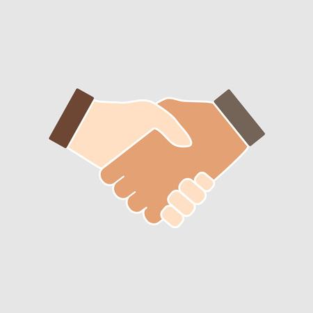 Vector illustration, flat design. Hand, handshake icon. Vector illustration flat design