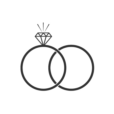 Vector illustration, flat design. Diamond ring icon Banque d'images - 124734689
