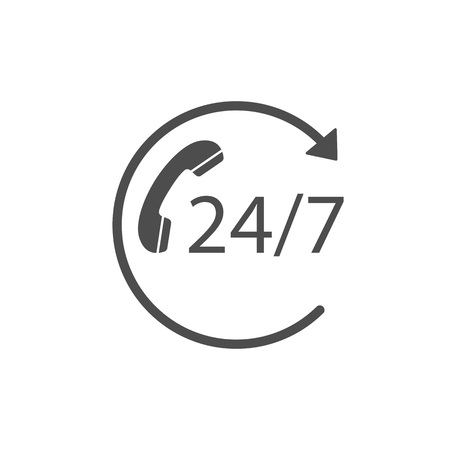 24 hours 7 days icon. Time clock icon vector illustration. Flat Illustration
