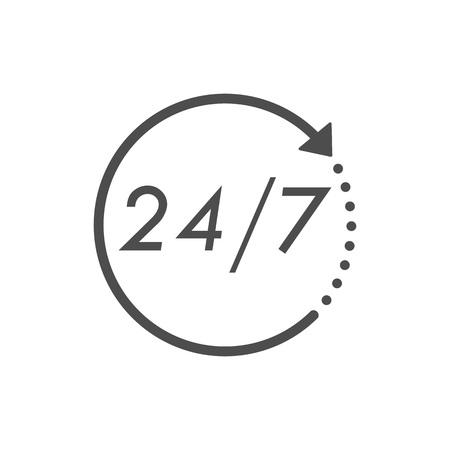 Icono de 24 horas 7 días. Ilustración de vector de icono de reloj de tiempo. Diseño plano. Ilustración de vector