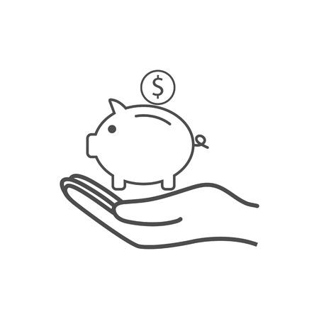 Money, pig, saving hand icon Vector illustration