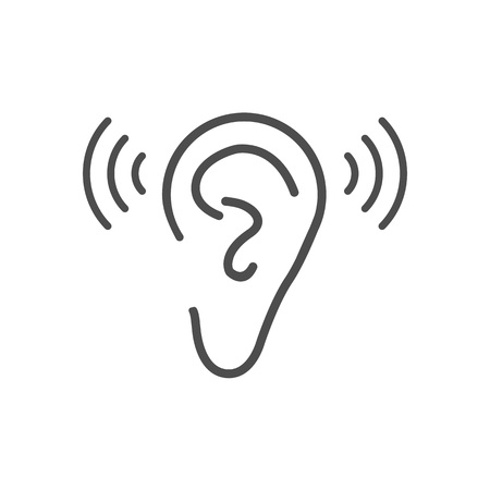 Ear hearing icon. Vector illustration, flat design.