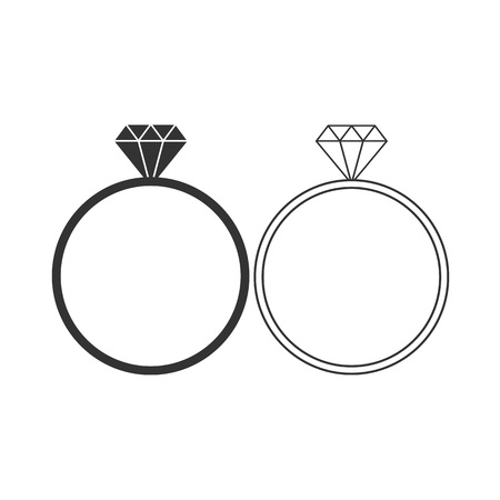 Vector illustration, flat design. Diamond ring icon Banque d'images - 124734709