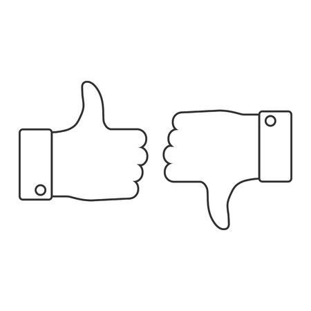 Bueno, me gusta el icono de pulgar hacia arriba. Ilustración de vector, diseño plano.