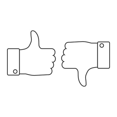 Good, like, thumbs up icon. Vector illustration, flat design. Ilustração