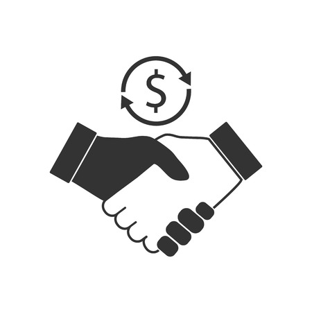 Business handshare icon. Vector illustration flat