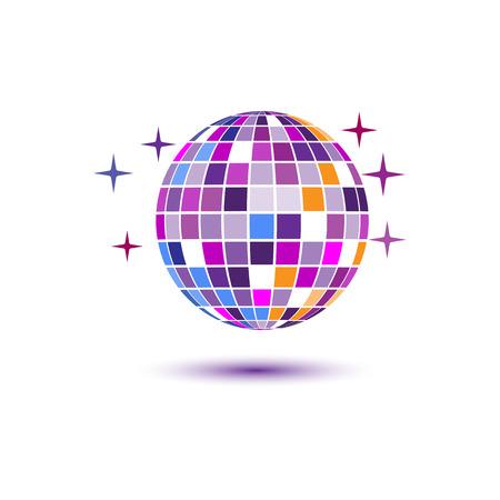 Disco ball icon white background. Vector illustration, flat