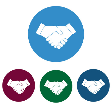 Hand, handshake icon set flat vector