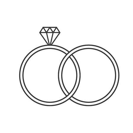 Diamond ring icon. Vector illustration, flat design. Illusztráció