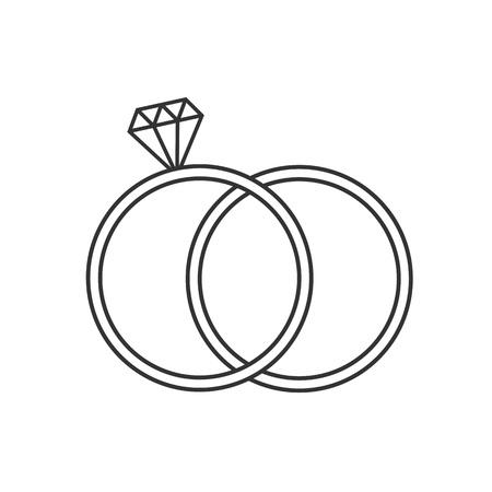 Vector illustration, flat design. Diamond ring icon Illustration