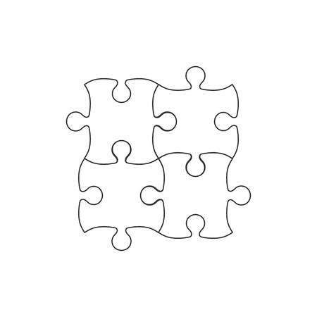 Vector illustration, flat design. Simple puzzle icon