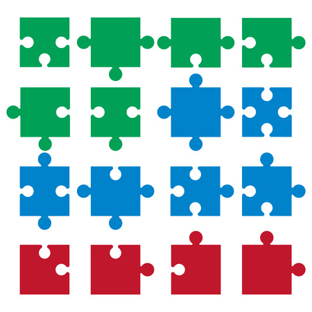 Vector illustration, flat design. Jigsaw pieces puzzle icon Ilustrace