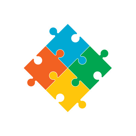 Vector illustration, flat design. Simple puzzle icon color