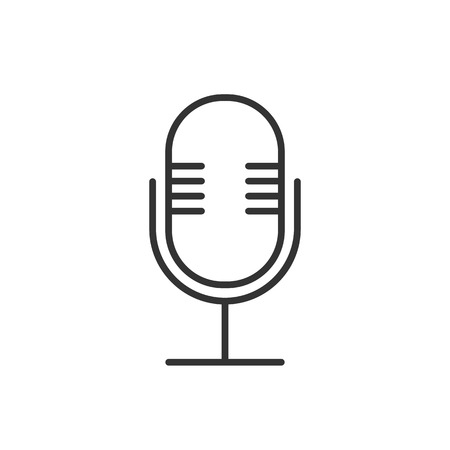 Vector illustration, flat design. Microphone mic icon