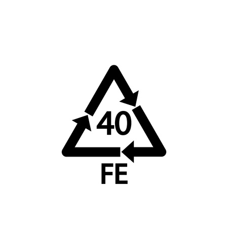 Steel recycling symbol FE 40 , metals recycling code FE 40 , vector Illustration