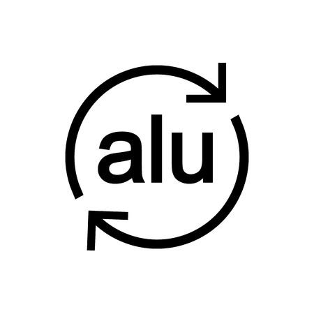 Recyclable aluminium. Vector illustration. Eco Sign Flat