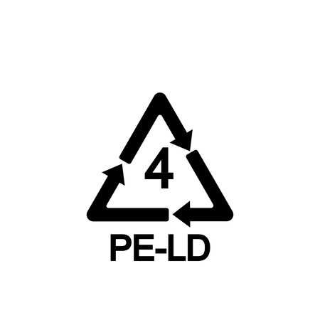 Plastic recycling symbol LDPE 4, Resin identification code Low-density polyethylene, Ilustração
