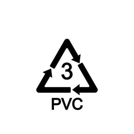 Recyclable plastic. Polyvinyl chloride Vector illustration
